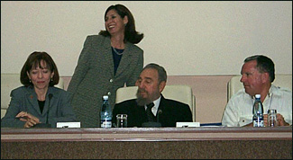 Senator Maria Cantwell of Washington (standing) with President Castro and Kirby Jones